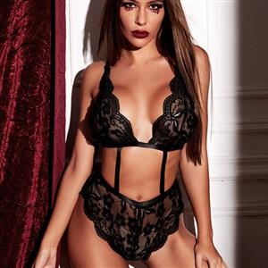Sexy Black Floral Lace Spaghetti Straps Hollow Out One-piece Teddy Lingerie N21214