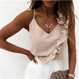 V Neck Casual Blouse,Spaghetti Straps Blouse,Ruffle Backless Sling Tops,Women Casual Blouse,Sexy Women