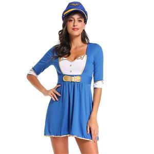 Sexy Stewardess Mini Dress, Sexy Pilot Costume, First Class Flirt Costume, Sexy Adult Pilot Costume, Adult Stewardess Halloween Costume, #C1306