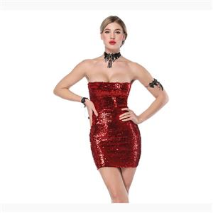 Bodycon Mini Dress, Clubwear Strapless Bodycon Dresses, Fashion Mini Dress, Sexy Mini Dress, Strapless Sequined Bodycon Dress, #N17715