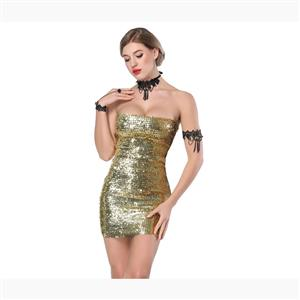 Bodycon Mini Dress, Clubwear Strapless Bodycon Dresses, Fashion Mini Dress, Sexy Mini Dress, Strapless Sequined Bodycon Dress, #N17716