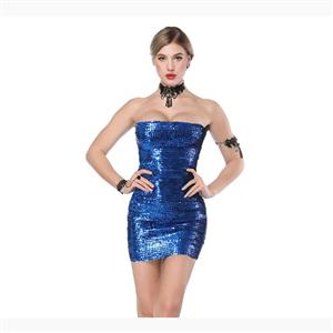 Bodycon Mini Dress, Clubwear Strapless Bodycon Dresses, Fashion Mini Dress, Sexy Mini Dress, Strapless Sequined Bodycon Dress, #N17717