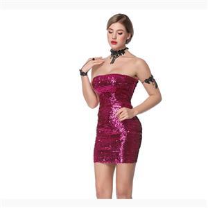 Bodycon Mini Dress, Clubwear Strapless Bodycon Dresses, Fashion Mini Dress, Sexy Mini Dress, Strapless Sequined Bodycon Dress, #N17718