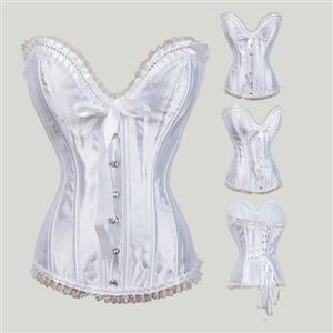 Sexy White Satin Strapless Retro Lace Trim Lace Up Overbust Corset N17985