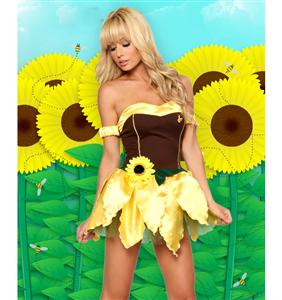 Sexy Sunflower Costume, adult Sunflower Costume, Sexy Sun flower Costume, #M858