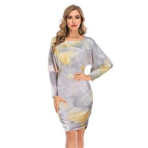 Sexy Dress for Women,Elegant Party Dress,Scoop Collar Dress,Sexy Dresses for Women Cocktail Party,Long Sleeves High Waist Swing Dress,Tie-dye Gradient Printed Dress, #N20636