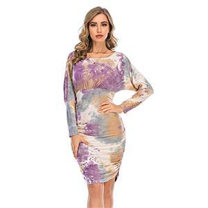 Sexy Dress for Women,Elegant Party Dress,Scoop Collar Dress,Sexy Dresses for Women Cocktail Party,Long Sleeves High Waist Swing Dress,Tie-dye Gradient Printed Dress, #N20636