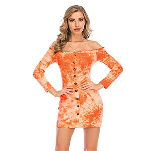 Sexy Dress for Women,Elegant Party Dress,Off The Shoulder Dress,Sexy Dresses for Women Cocktail Party,Long Sleeves High Waist Swing Dress,Tie-dye Gradient Printed Dress, #N20637