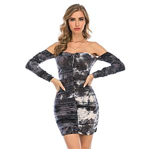 Sexy Dress for Women,Elegant Party Dress,Off The Shoulder Dress,Sexy Dresses for Women Cocktail Party,Long Sleeves High Waist Swing Dress,Tie-dye Gradient Printed Dress, #N20639