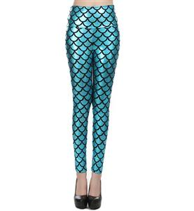 Sexy Turquoise Fish Scale Pattern High Waist Leggings L10257