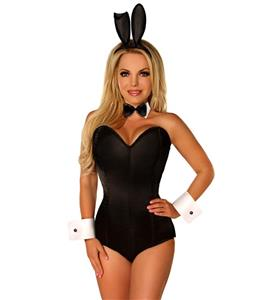 Bunny Costume for Women, Sexy Black Bunny Corset Costume, Bunny Girls Costume, Plus Size Costume, Halloween Costume for Women, #N11101
