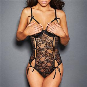 Sleepwear Bodysuit for Women, Sexy Black Floral Lace Lingerie, Cheap Romper Lingerie for Women, Sexy Valentines Lingerie, Christmas Bodysuit Lingerie, Cupless Bodysuit Lace Black, #N17481