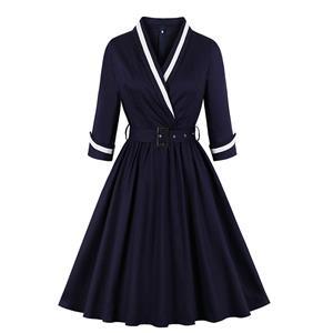 Sexy A-line Dress,Plus Size Spring Dress,Vintage Dresses for Women,High Waist Dresses for Women,V-neck Dress for Women, Daily Waist Belt Dress, #N19411