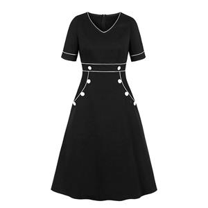 Sexy Swing Dress,Plus Size Summer Dress,Solid color Dresses for Women,High Waist Dresses for Women,V-neck Dress for Women, Daily Black Dress, #N19408