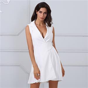 White Dress For Women, Sexy Dresses For Women, Fashion Mini Dresses, Mini Party Dress, White Office Dress, Sleeveless Mini Dresses, #N15216