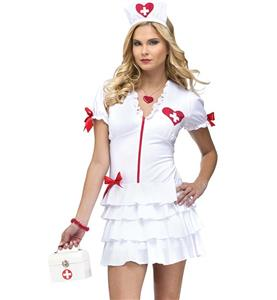 Sexy White High Temp Nurse Costume N9939
