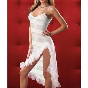 Lace Gown, Floral Lace Lingerie Dress, White Lace Long Dress, Sheer Floral Lace Dress, #N16805