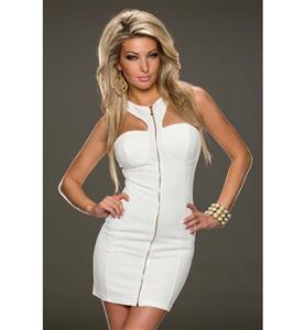 Front Zipper Bodycon Dress, Strapless Tied Neck Dress, Sexy Half Backless Package Hip Dress, #N9390
