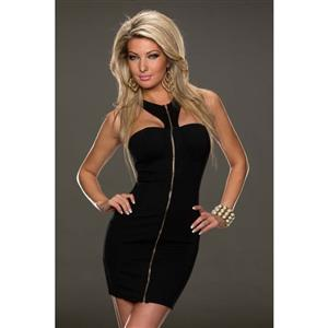 Front Zipper Bodycon Dress, Strapless Tied Neck Dress, Sexy Half Backless Package Hip Dress, #N9391