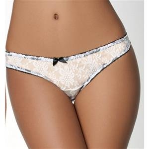 Sexy White Thong, Sexy Lace Panty for Women, White Lace Thong Lingerie, White Crotchless Lace Panty, Sexy Open Crotch Thong, Sexy White Lace Panty, #PT17555