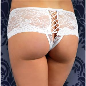 Sexy White Thong, Sexy Lace Panty for Women, White Lace-up Lace Thong, White Crotchless Lace Panty, Sexy Open Crotch Plus Size Thong, Sexy White Lace Panty, #PT17532
