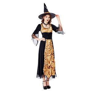 Vintage Witch Costume, Vintage Witch Halloween Party Dress, Sexy Black Witch Costume, Fashion Black Witch Womens Costume, Sexy Gothic Witch Costume, #N20739