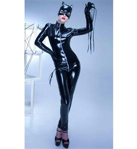 Fashion Black Costume, Sexy Women Black Long Sleeves Costume, Mask Costume, Cheap High Quality PVC Costume,  #N9259