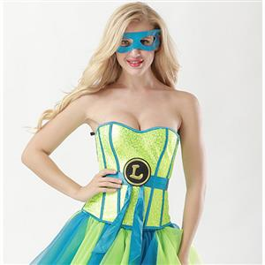 Halloween Costume Corset, Burlesque Corset for Women, Sexy Superhero Costume Cosplay, Superwoman Cospaly Corsets, Hero Corset, #N15012