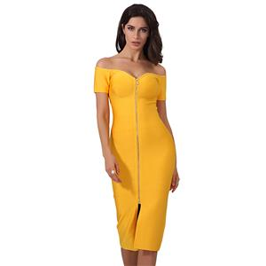 Sexy Dress for Women, Fashion Midi Dresses, Bodycon Party Dress, Sweetheart Neck Bodycon Dress, Off Shoulder Dresses, Yellow Bodycon Bandage Dress, #N15245