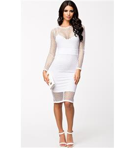 Knee Length Long Sleeve Dress, Netted Overlay Strap Dress, White Netted Cutout Midi Dress, #N8914