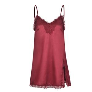 Charming Spaghetti Straps Low-cut Floral Lace Trim Side Split Soft Nightgown Chemise N19232