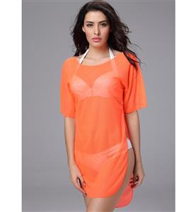 Sheer Loose Beach Dresses, Bat-wing Sleeve Swimsuit Cover Up, Orange Swim Suit Cover, #BK8873