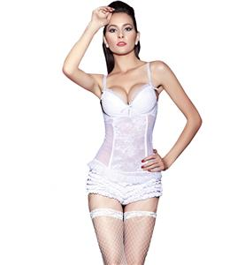 Sheer Lace & Mesh Push Up Chemise N7727