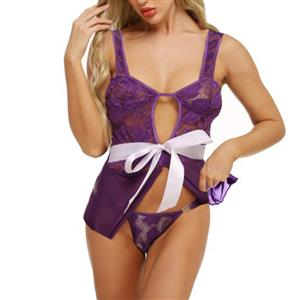 Charming See-through Lace Bowknot Camisole Chemise Thin Nightgown Lingerie N20116