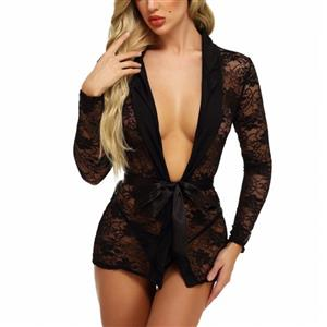 Charming See-through Floral Lace Long Sleeve Sash Thin Nightgown Bathrobe with G-string N20114
