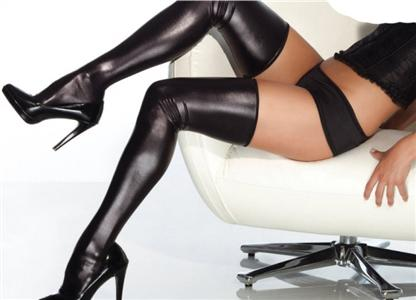 Black Stockings, Vinyl Thigh Highs, Black Thigh Highs, #HG1921