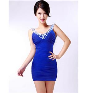 V-Neck Ruffle Stretch Bodycon Dress, Sleeveless Rhinestone Package Hip Dress, White Club Evening Cocktail Dress, #N9077
