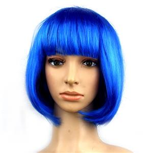 Fashion Short Bob Wig, Blue Short Bob Wig, Sexy Masquerade Short Bob Wig, Fashion Party Short Bob Wig, Cosplay Short Bob Straight Wig, #MS16095