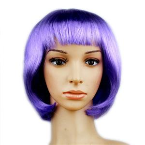 Fashion Short Bob Wig, Light-Purple Short Bob Wig, Sexy Masquerade Short Bob Wig, Fashion Party Short Bob Wig, Cosplay Short Bob Straight Wig, #MS16096