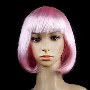 Fashion Short Bob Wig, Pink Short Bob Wig, Sexy Masquerade Short Bob Wig, Fashion Party Short Bob Wig, Cosplay Short Bob Straight Wig, #MS16097