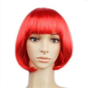Fashion Short Bob Wig, Red Short Bob Wig, Sexy Masquerade Short Bob Wig, Fashion Party Short Bob Wig, Cosplay Short Bob Straight Wig, #MS16099