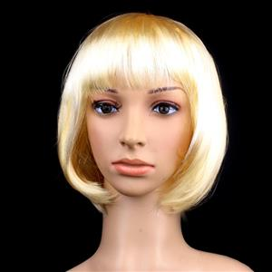 Fashion Short Bob Wig, Gold Short Bob Wig, Sexy Masquerade Short Bob Wig, Fashion Party Short Bob Wig, Cosplay Short Bob Straight Wig, #MS16100