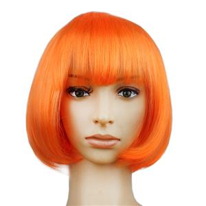 Fashion Short Bob Wig, Orange Short Bob Wig, Sexy Masquerade Short Bob Wig, Fashion Party Short Bob Wig, Cosplay Short Bob Straight Wig, #MS16101