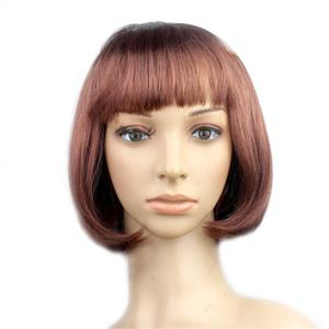 Fashion Short Bob Wig, Brown Short Bob Wig, Sexy Masquerade Short Bob Wig, Fashion Party Short Bob Wig, Cosplay Short Bob Straight Wig, #MS16104