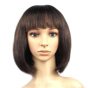 Fashion Short Bob Wig, Dark-Brown Short Bob Wig, Sexy Masquerade Short Bob Wig, Fashion Party Short Bob Wig, Cosplay Short Bob Straight Wig, #MS16105