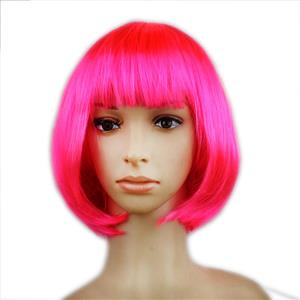 Fashion Short Bob Wig, Hot-Pink Short Bob Wig, Sexy Masquerade Short Bob Wig, Fashion Party Short Bob Wig, Cosplay Short Bob Straight Wig, #MS16106