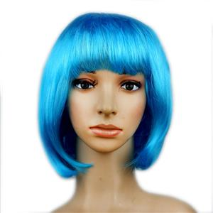 Fashion Short Bob Wig, Sky-Blue Short Bob Wig, Sexy Masquerade Short Bob Wig, Fashion Party Short Bob Wig, Cosplay Short Bob Straight Wig, #MS16107