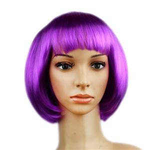 Fashion Short Bob Wig, Purple Short Bob Wig, Sexy Masquerade Short Bob Wig, Fashion Party Short Bob Wig, Cosplay Short Bob Straight Wig, #MS16108