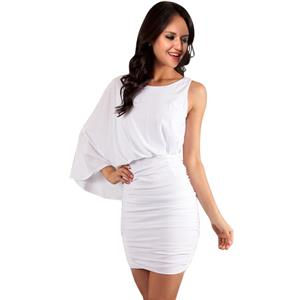 Short One Sleeve Dress, White cocktail dress, White Sleeve Dress, #N5609