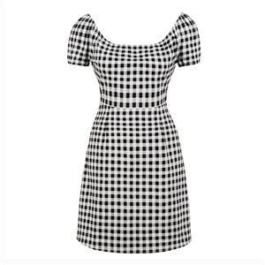 Vintage Short Sleeve Summer Dress, Retro High Waist Plaid Dress, Casual Plaid Knee-length Dress, Women